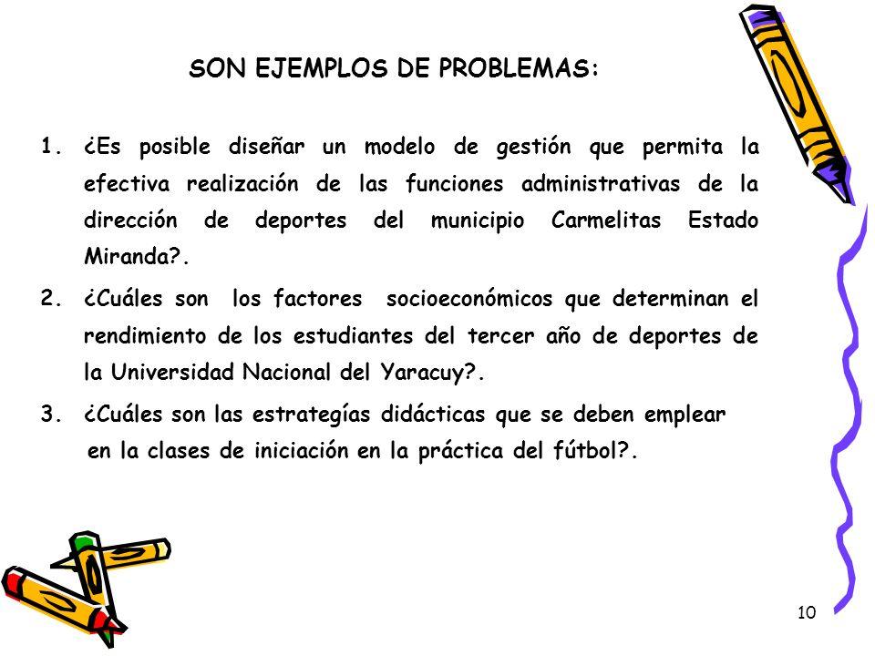 10 SON EJEMPLOS DE PROBLEMAS: 1.¿Es posible diseñar un modelo de gestión que permita la efectiva realización de las funciones administrativas de la di