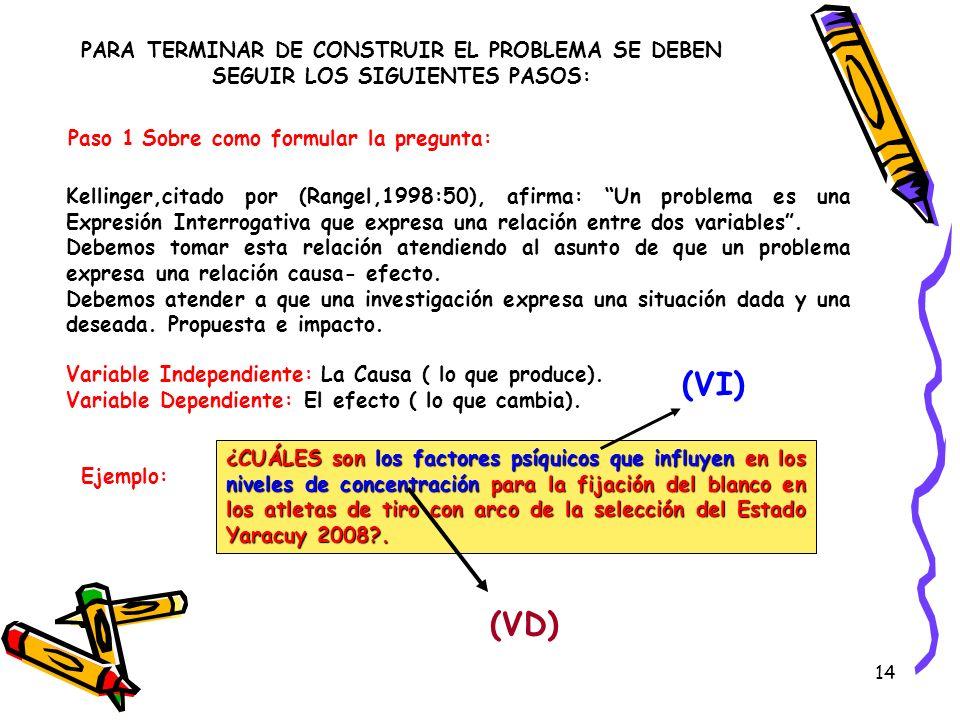 14 PARA TERMINAR DE CONSTRUIR EL PROBLEMA SE DEBEN SEGUIR LOS SIGUIENTES PASOS: Paso 1 Sobre como formular la pregunta: Kellinger,citado por (Rangel,1