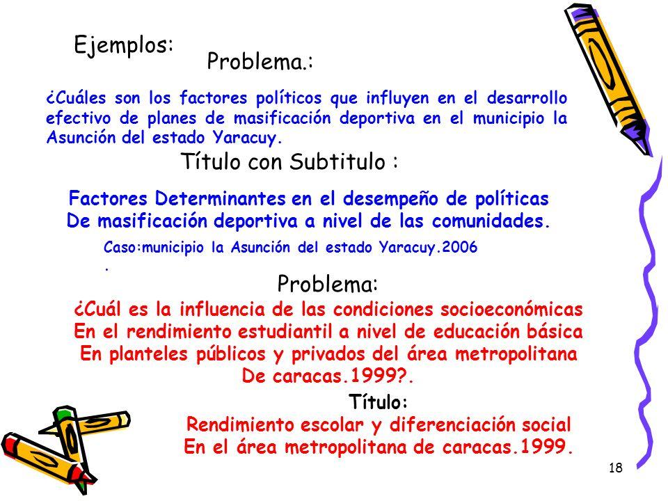 18 Ejemplos: Problema.: Título con Subtitulo : Factores Determinantes en el desempeño de políticas De masificación deportiva a nivel de las comunidade