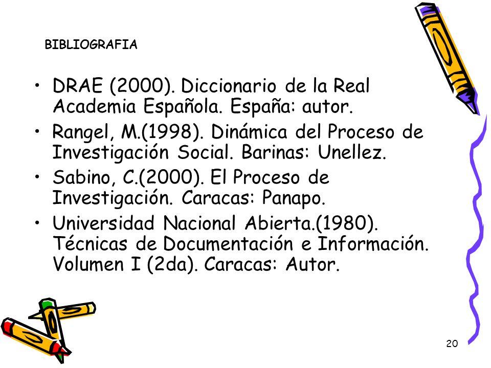 20 BIBLIOGRAFIA DRAE (2000). Diccionario de la Real Academia Española. España: autor. Rangel, M.(1998). Dinámica del Proceso de Investigación Social.