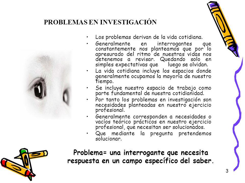 3 PROBLEMAS EN INVESTIGACIÓN Los problemas derivan de la vida cotidiana. Generalmente en interrogantes que constantemente nos planteamos que por lo ap