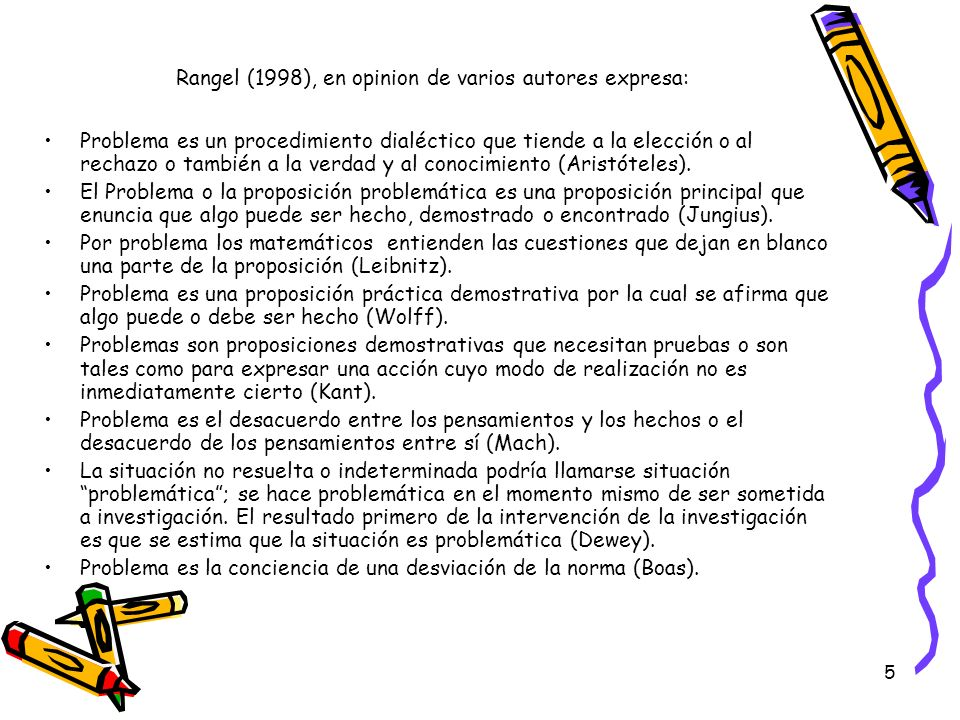 5 Rangel (1998), en opinion de varios autores expresa: Problema es un procedimiento dialéctico que tiende a la elección o al rechazo o también a la ve