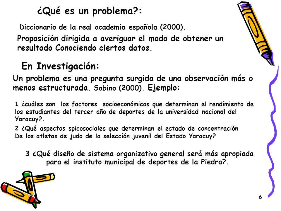 6 ¿Qué es un problema?: Diccionario de la real academia española (2000). Proposición dirigida a averiguar el modo de obtener un resultado Conociendo c