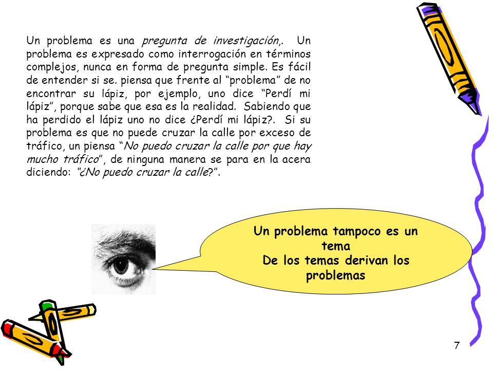 7 Un problema es una pregunta de investigación,. Un problema es expresado como interrogación en términos complejos, nunca en forma de pregunta simple.