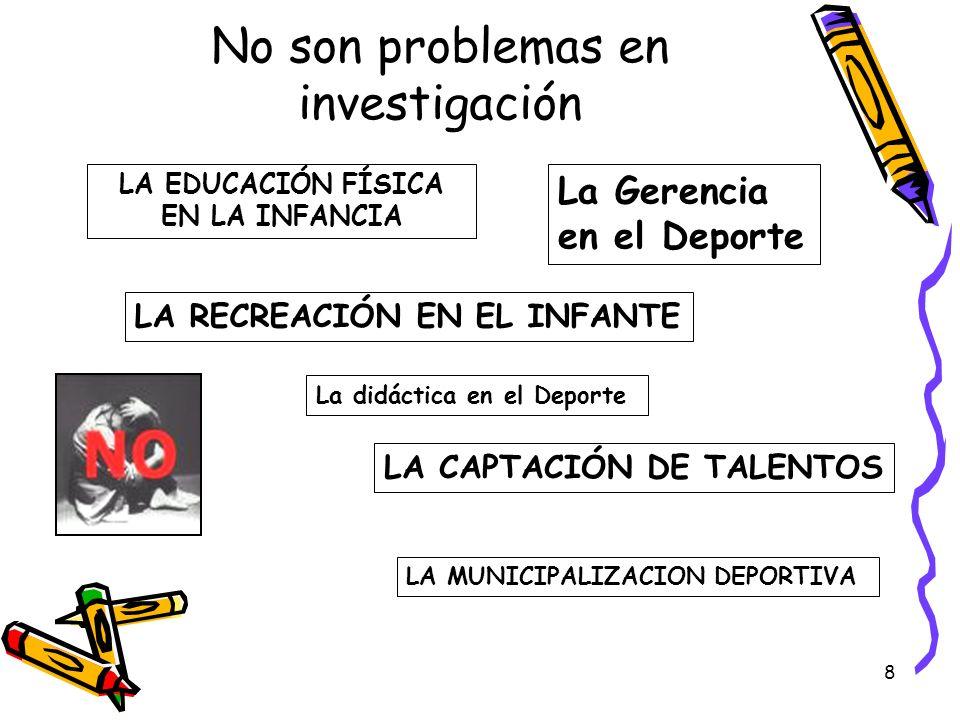 8 No son problemas en investigación La Gerencia en el Deporte LA EDUCACIÓN FÍSICA EN LA INFANCIA LA RECREACIÓN EN EL INFANTE LA CAPTACIÓN DE TALENTOS