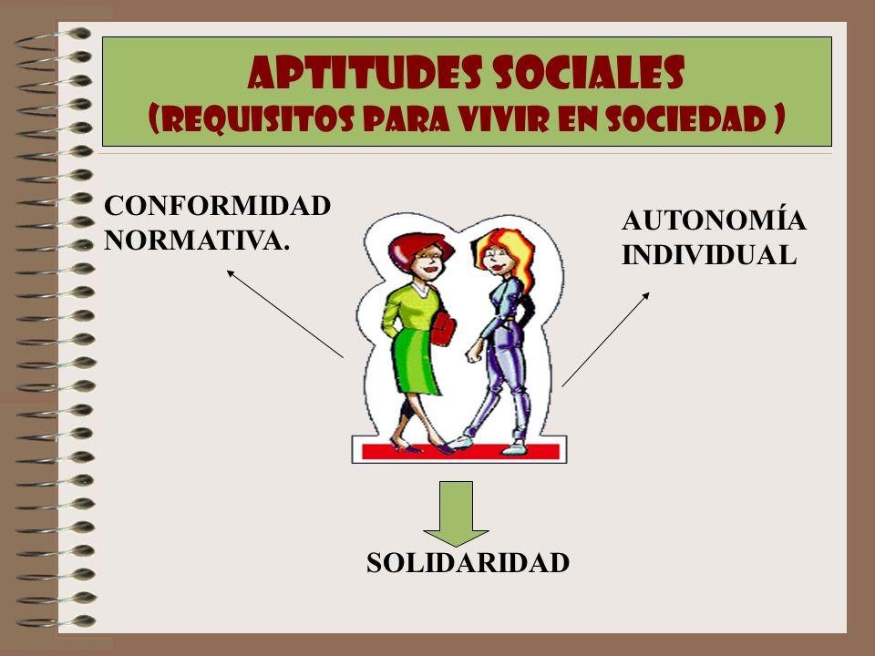 APTITUDES SOCIALES (REQUISITOS PARA VIVIR EN SOCIEDAD ) CONFORMIDAD NORMATIVA. AUTONOMÍA INDIVIDUAL SOLIDARIDAD