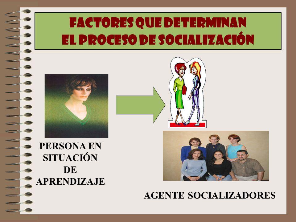FACTORES QUE DETERMINAN EL PROCESO DE SOCIALIZACIÓN PERSONA EN SITUACIÓN DE APRENDIZAJE AGENTE SOCIALIZADORES