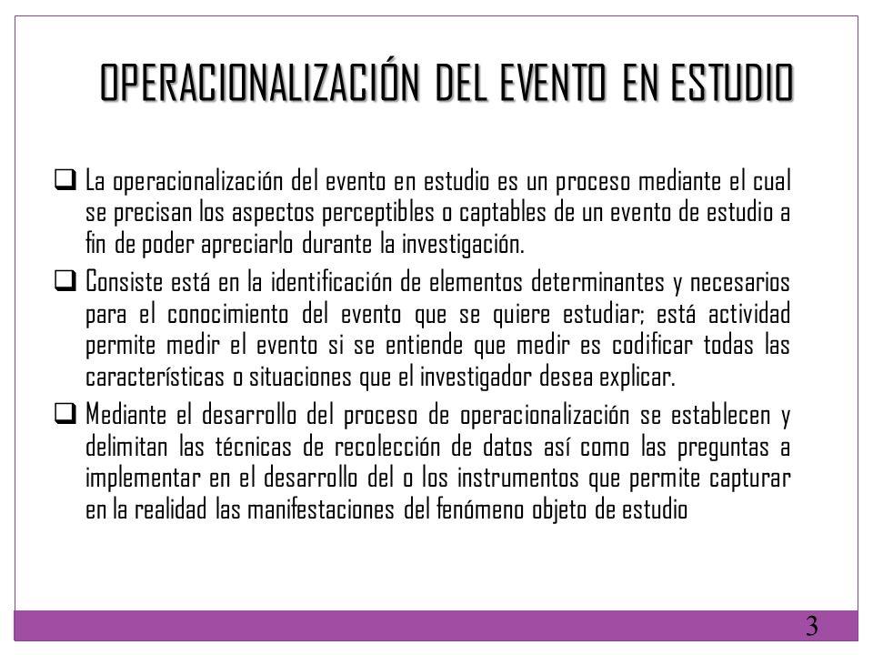 La operacionalización del evento en estudio es un proceso mediante el cual se precisan los aspectos perceptibles o captables de un evento de estudio a
