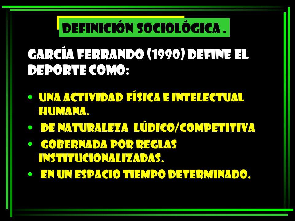 García Ferrando (1990) define el deporte como: UNA ACTIVIDAD FÍSICA E INTELECTUAL HUMANA. DE NATURALEZA LÚDICO/COMPETITIVA GOBERNADA POR REGLAS INSTIT