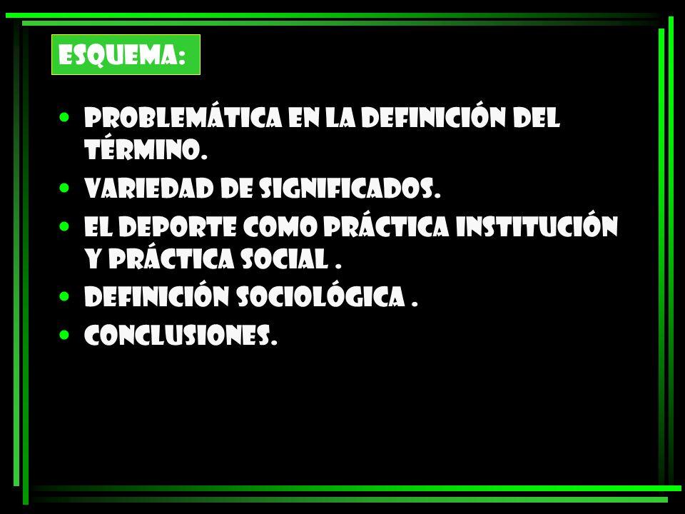 ESQUEMA: Problemática en la definición del término. Variedad de significados. El deporte como práctica institución y práctica social. Definición socio