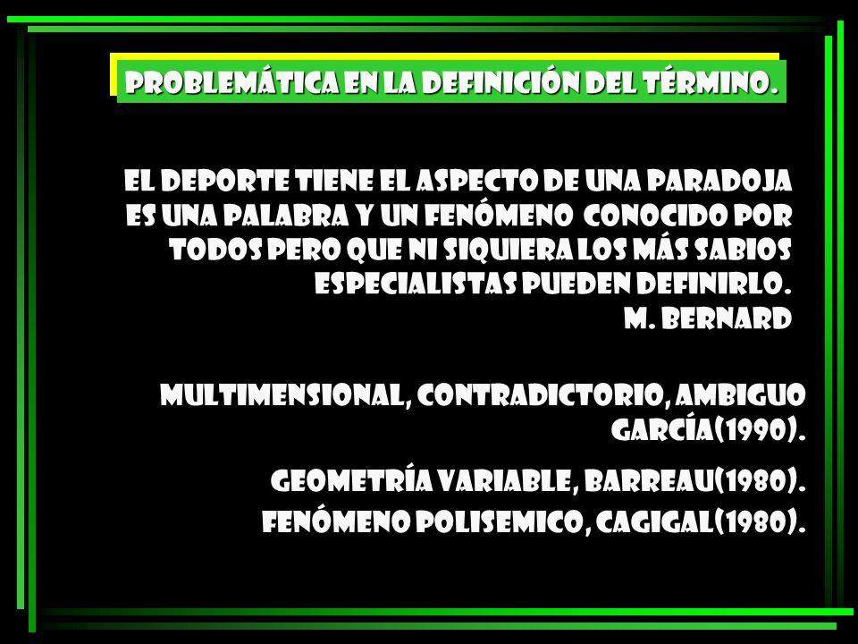 García Ferrando (1990) define el deporte como: UNA ACTIVIDAD FÍSICA E INTELECTUAL HUMANA.