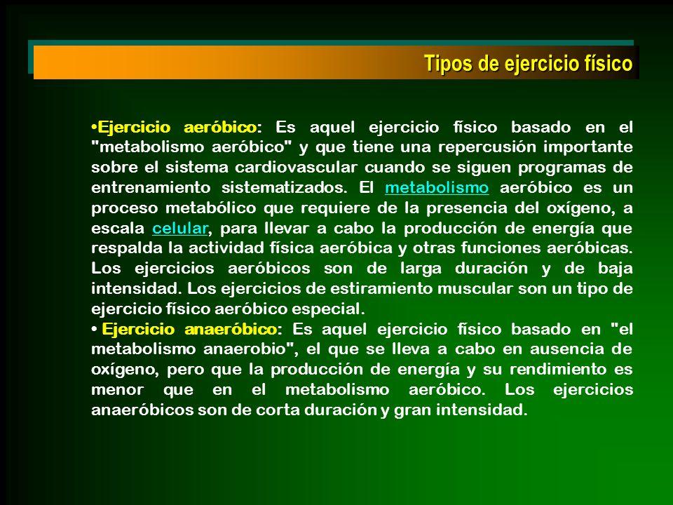 Tipos de ejercicio físico Ejercicio aeróbico: Es aquel ejercicio físico basado en el
