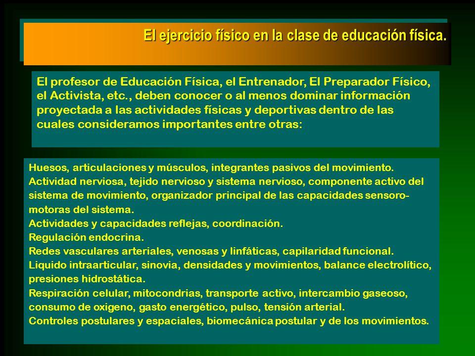 El ejercicio físico en la clase de educación física. El profesor de Educación Física, el Entrenador, El Preparador Físico, el Activista, etc., deben c