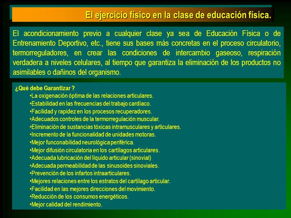 El acondicionamiento previo a cualquier clase ya sea de Educación Física o de Entrenamiento Deportivo, etc., tiene sus bases más concretas en el proce
