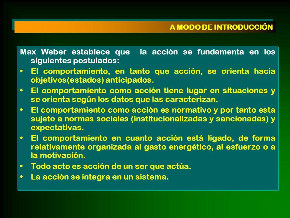 Max Weber establece que la acción se fundamenta en los siguientes postulados: El comportamiento, en tanto que acción, se orienta hacia objetivos(estad