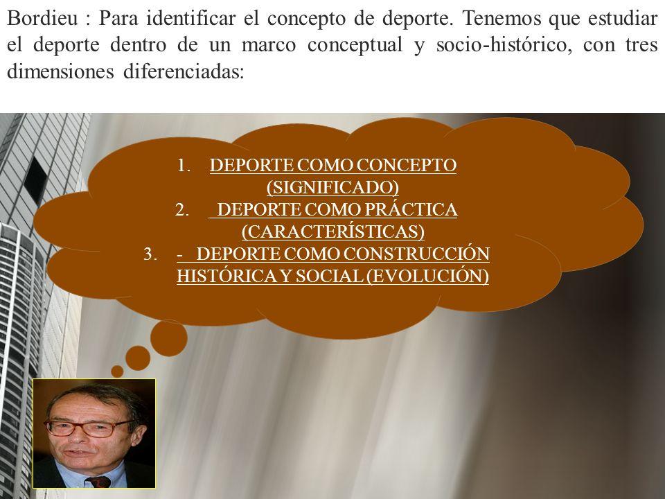 1. 1.DEPORTE COMO CONCEPTO (SIGNIFICADO) 2. 2. DEPORTE COMO PRÁCTICA (CARACTERÍSTICAS) 3. 3.- DEPORTE COMO CONSTRUCCIÓN HISTÓRICA Y SOCIAL (EVOLUCIÓN)