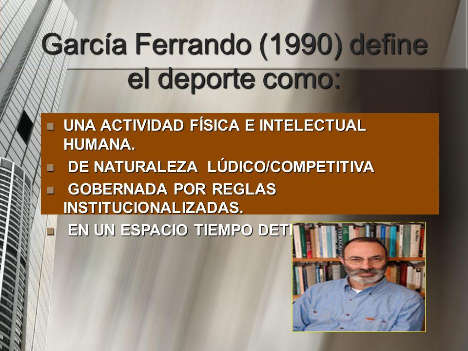 García Ferrando (1990) define el deporte como: UNA ACTIVIDAD FÍSICA E INTELECTUAL HUMANA. UNA ACTIVIDAD FÍSICA E INTELECTUAL HUMANA. DE NATURALEZA LÚD