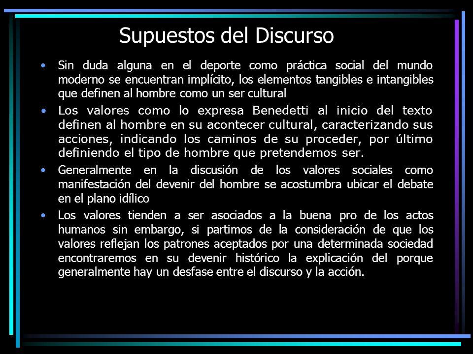 Supuestos del Discurso Sin duda alguna en el deporte como práctica social del mundo moderno se encuentran implícito, los elementos tangibles e intangi