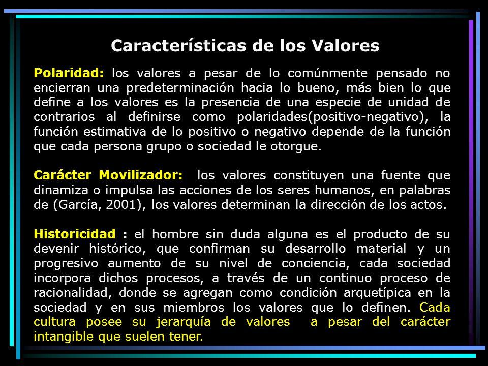 Polaridad: los valores a pesar de lo comúnmente pensado no encierran una predeterminación hacia lo bueno, más bien lo que define a los valores es la p