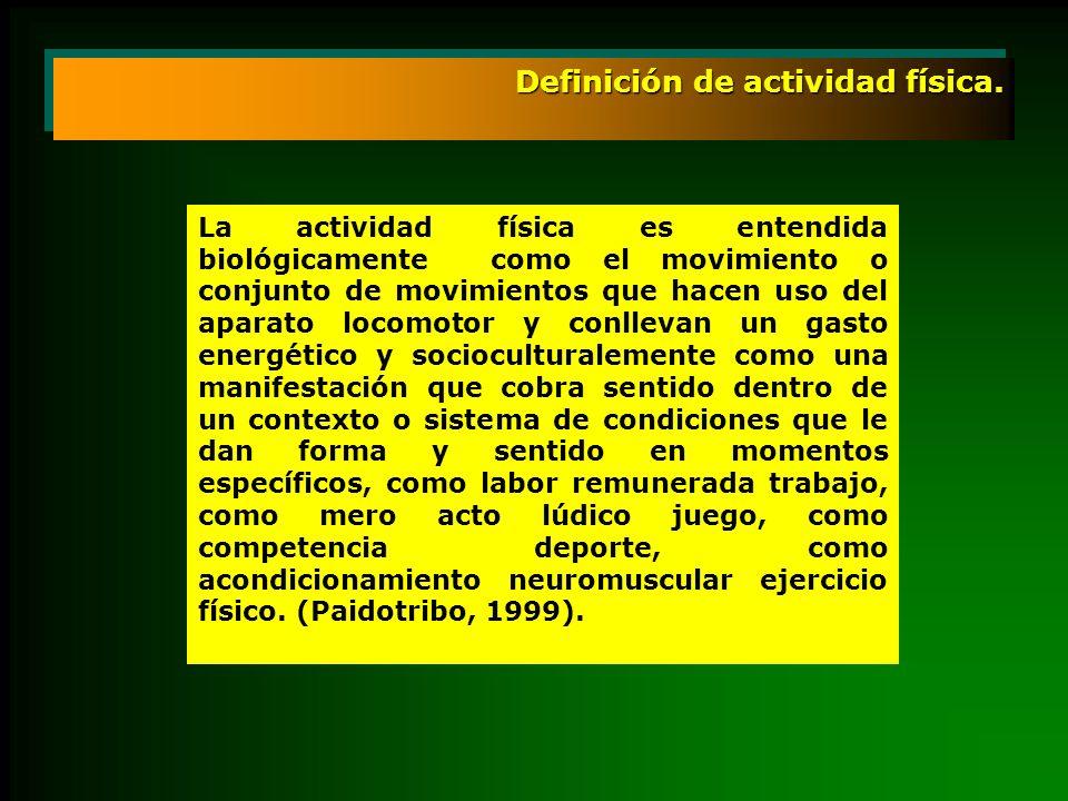 Definición de actividad física. La actividad física es entendida biológicamente como el movimiento o conjunto de movimientos que hacen uso del aparato