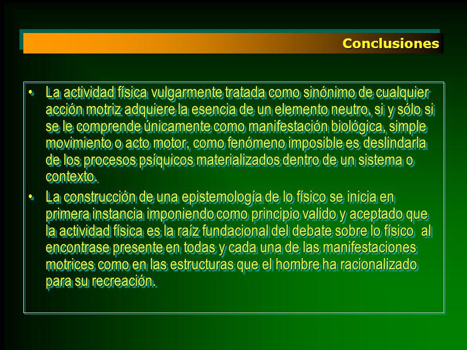 ConclusionesConclusiones La actividad física vulgarmente tratada como sinónimo de cualquier acción motriz adquiere la esencia de un elemento neutro, s