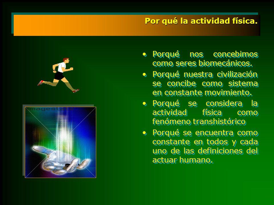 lo que hoy definimos como formas especificas del actuar humano, trabajo, juego, ejercicio físico, deporte encuentran en la actividad física su núcleo epistémico.