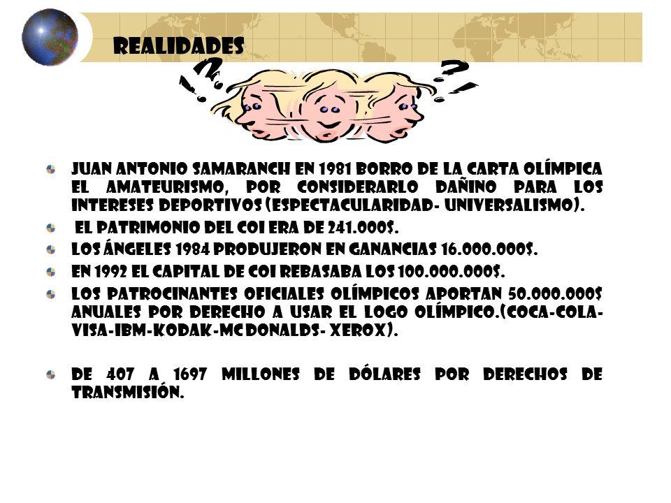 Juan Antonio Samaranch en 1981 borro de la carta olímpica el amateurismo, por considerarlo dañino para los intereses deportivos (espectacularidad- uni