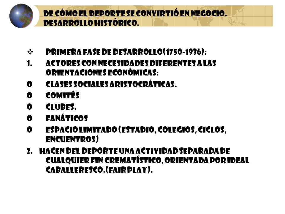 De cómo el Deporte se Convirtió en Negocio. Desarrollo Histórico. Primera fase de desarrollo(1750-1936): 1.Actores con Necesidades Diferentes a las or
