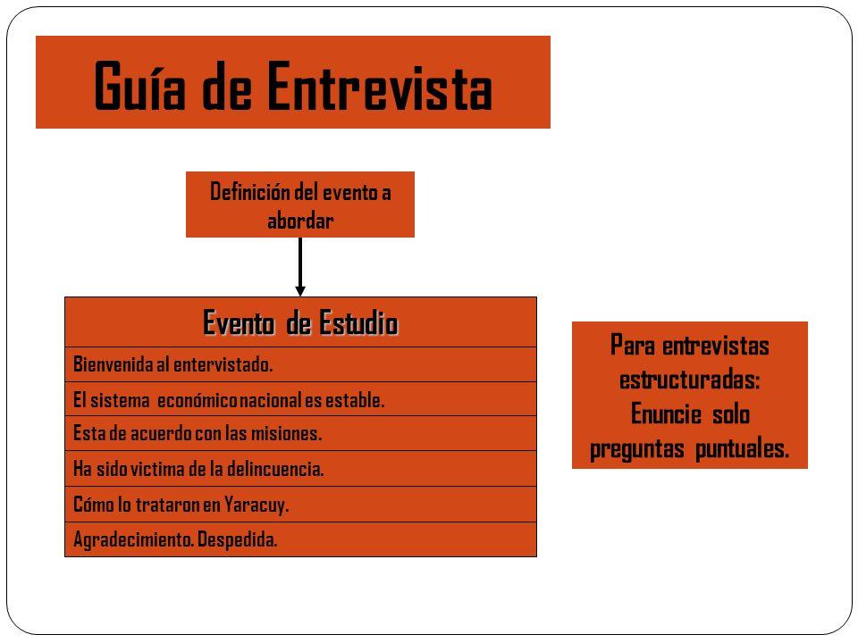 Guía de Entrevista Evento de Estudio Bienvenida al entervistado. El sistema económico nacional es estable. Esta de acuerdo con las misiones. Ha sido v