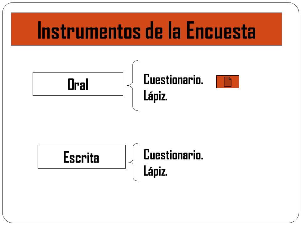 Instrumentos de la Encuesta Oral Escrita Cuestionario. Lápiz. Cuestionario. Lápiz.