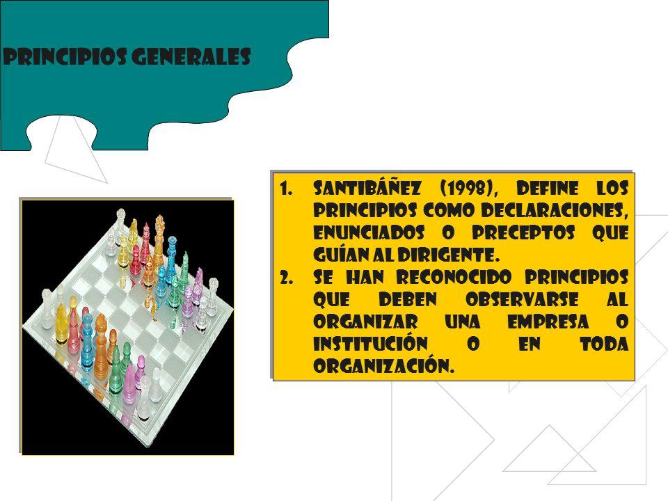 Principios generales 1.Santibáñez (1998), define los principios como declaraciones, enunciados o preceptos que guían al dirigente. 2.Se han reconocido