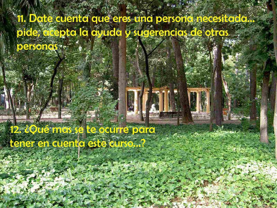 9. Saca tiempo para meditar y aprende a contemplar la acción de Dios en la Naturaleza, en cada persona, en este momento de la Historia, en ti mismo/a.