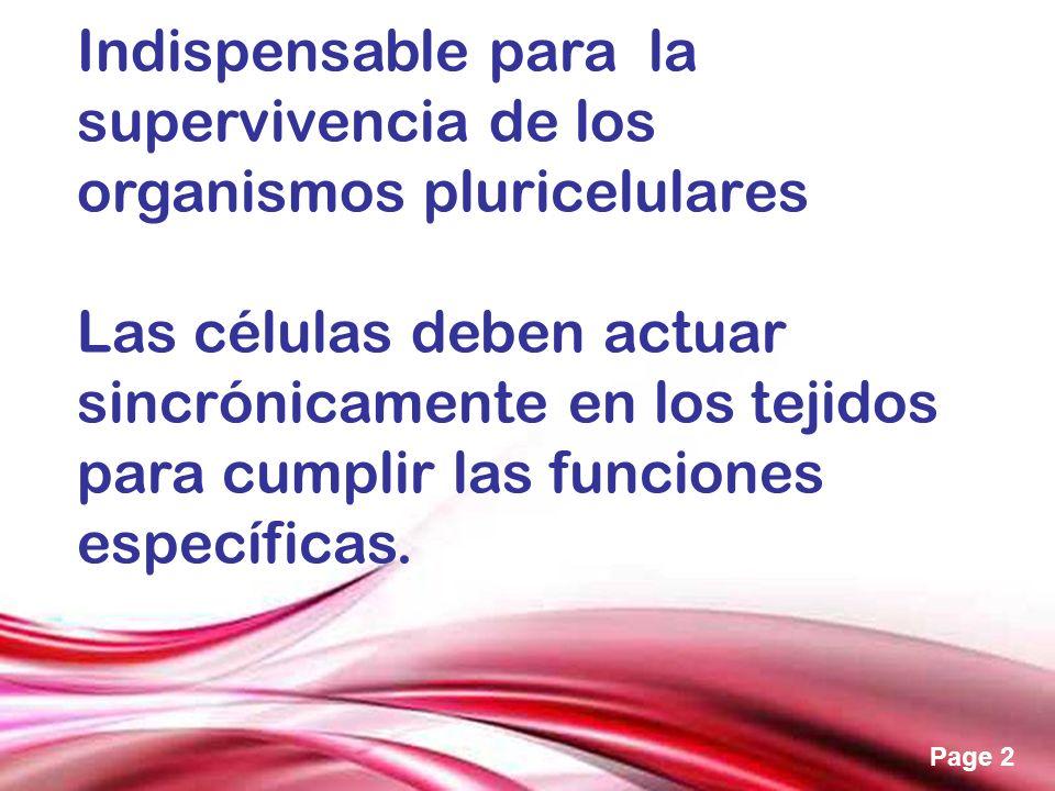 Free Powerpoint Templates Page 2 Indispensable para la supervivencia de los organismos pluricelulares Las células deben actuar sincrónicamente en los