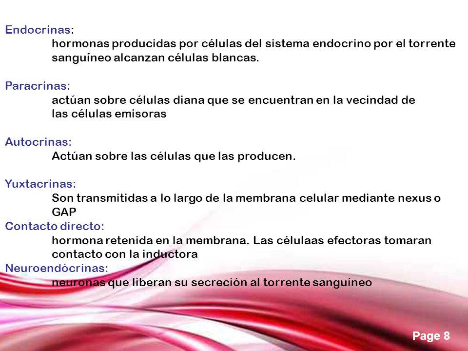 Free Powerpoint Templates Page 8 Endocrinas: hormonas producidas por células del sistema endocrino por el torrente sanguíneo alcanzan células blancas.