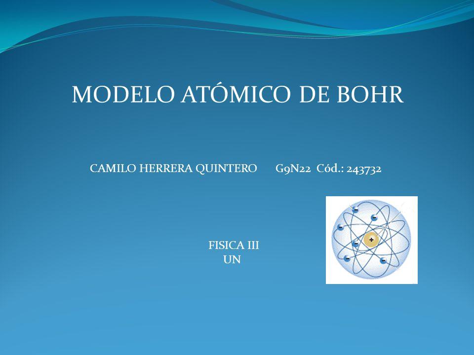 MODELO ATÓMICO DE BOHR CAMILO HERRERA QUINTERO G9N22 Cód.: 243732 FISICA III UN