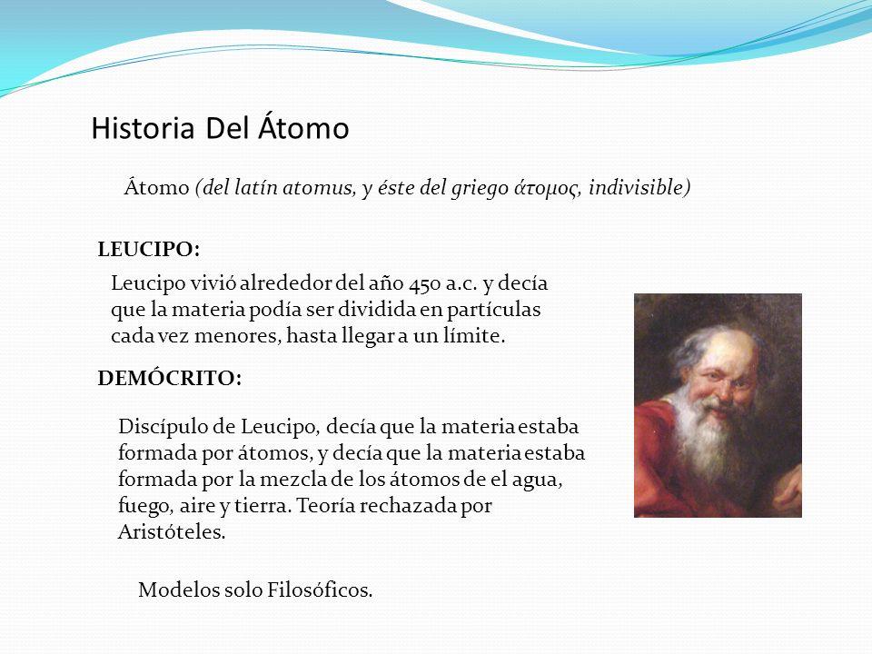 Historia Del Átomo Átomo (del latín atomus, y éste del griego άτομος, indivisible) LEUCIPO: Leucipo vivió alrededor del año 450 a.c. y decía que la ma