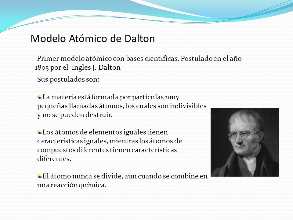 Modelo Atómico de Dalton Primer modelo atómico con bases científicas, Postulado en el año 1803 por el Ingles J. Dalton Sus postulados son: La materia