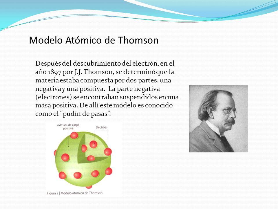 Modelo Atómico de Thomson Después del descubrimiento del electrón, en el año 1897 por J.J. Thomson, se determinó que la materia estaba compuesta por d