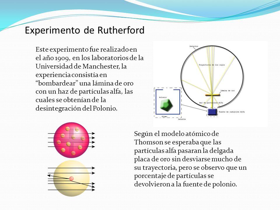 Experimento de Rutherford Este experimento fue realizado en el año 1909, en los laboratorios de la Universidad de Manchester, la experiencia consistía