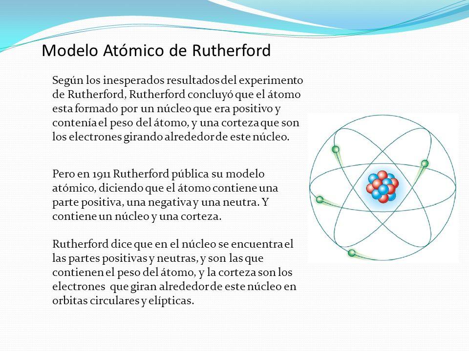 Modelo Atómico de Rutherford Según los inesperados resultados del experimento de Rutherford, Rutherford concluyó que el átomo esta formado por un núcl