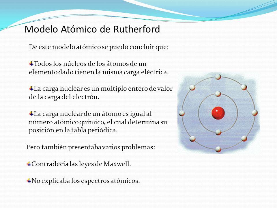 Modelo Atómico de Rutherford De este modelo atómico se puedo concluir que: Todos los núcleos de los átomos de un elemento dado tienen la misma carga e