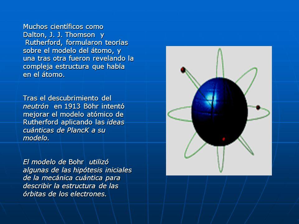 Muchos científicos como Dalton, J. J. Thomson y Rutherford, formularon teorías Rutherford, formularon teorías sobre el modelo del átomo, y una tras ot
