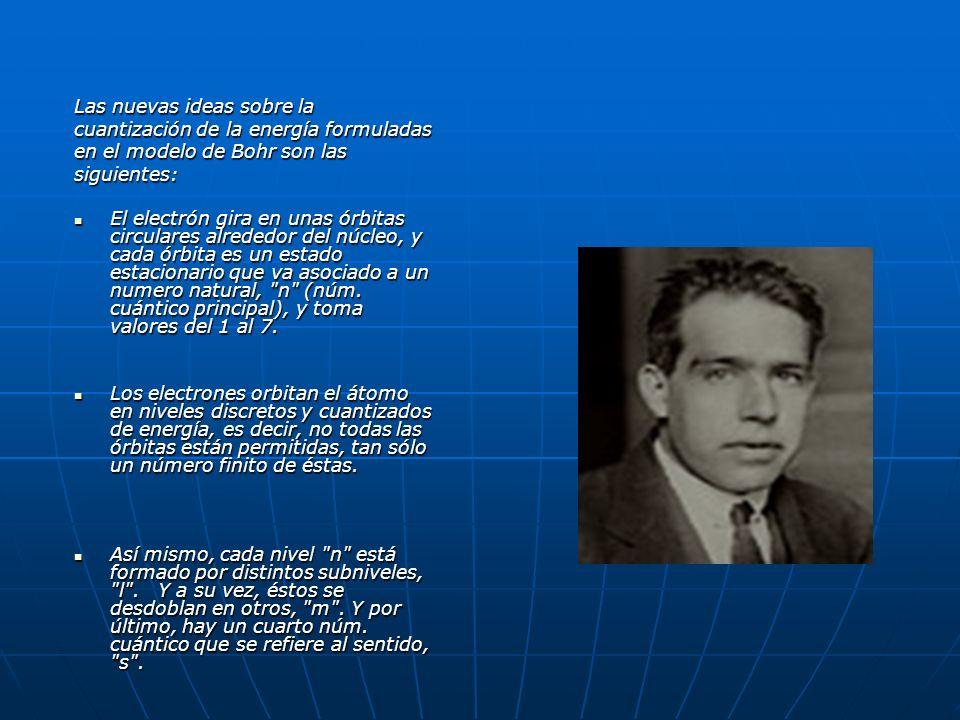 Las nuevas ideas sobre la cuantización de la energía formuladas en el modelo de Bohr son las siguientes: El electrón gira en unas órbitas circulares a