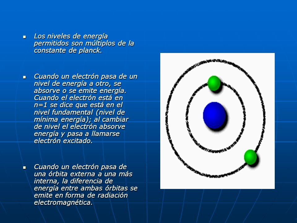 Los niveles de energía permitidos son múltiplos de la constante de planck. Los niveles de energía permitidos son múltiplos de la constante de planck.