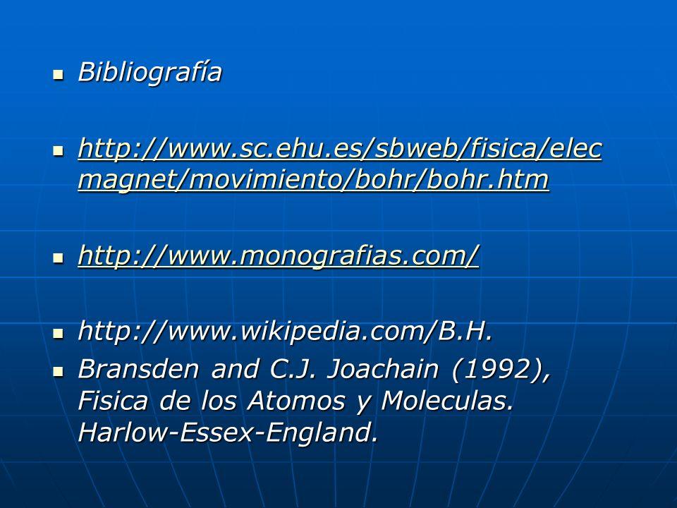 Bibliografía Bibliografía http://www.sc.ehu.es/sbweb/fisica/elec magnet/movimiento/bohr/bohr.htm http://www.sc.ehu.es/sbweb/fisica/elec magnet/movimie