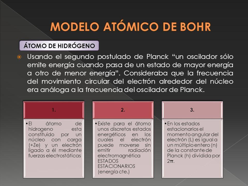 Usando el segundo postulado de Planck un oscilador sólo emite energía cuando pasa de un estado de mayor energía a otro de menor energía. Consideraba q
