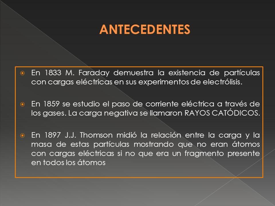 En 1833 M. Faraday demuestra la existencia de partículas con cargas eléctricas en sus experimentos de electrólisis. En 1859 se estudio el paso de corr