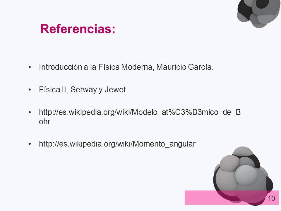 Introducción a la Física Moderna, Mauricio García. Física II, Serway y Jewet http://es.wikipedia.org/wiki/Modelo_at%C3%B3mico_de_B ohr http://es.wikip
