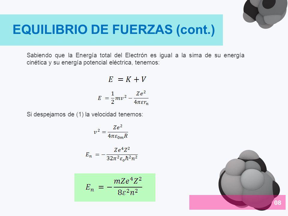 Sabiendo que la Energía total del Electrón es igual a la sima de su energía cinética y su energía potencial eléctrica, tenemos: Si despejamos de (1) l
