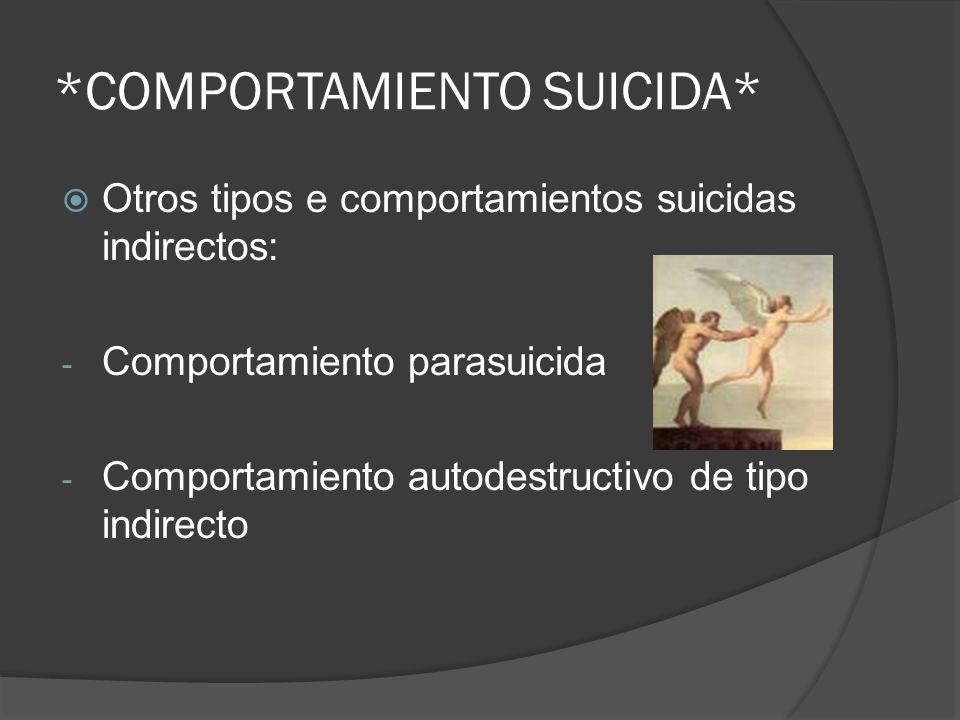 Otros tipos e comportamientos suicidas indirectos: - Comportamiento parasuicida - Comportamiento autodestructivo de tipo indirecto